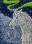 Snow-Unicorn Under the Northern Lights Artcard